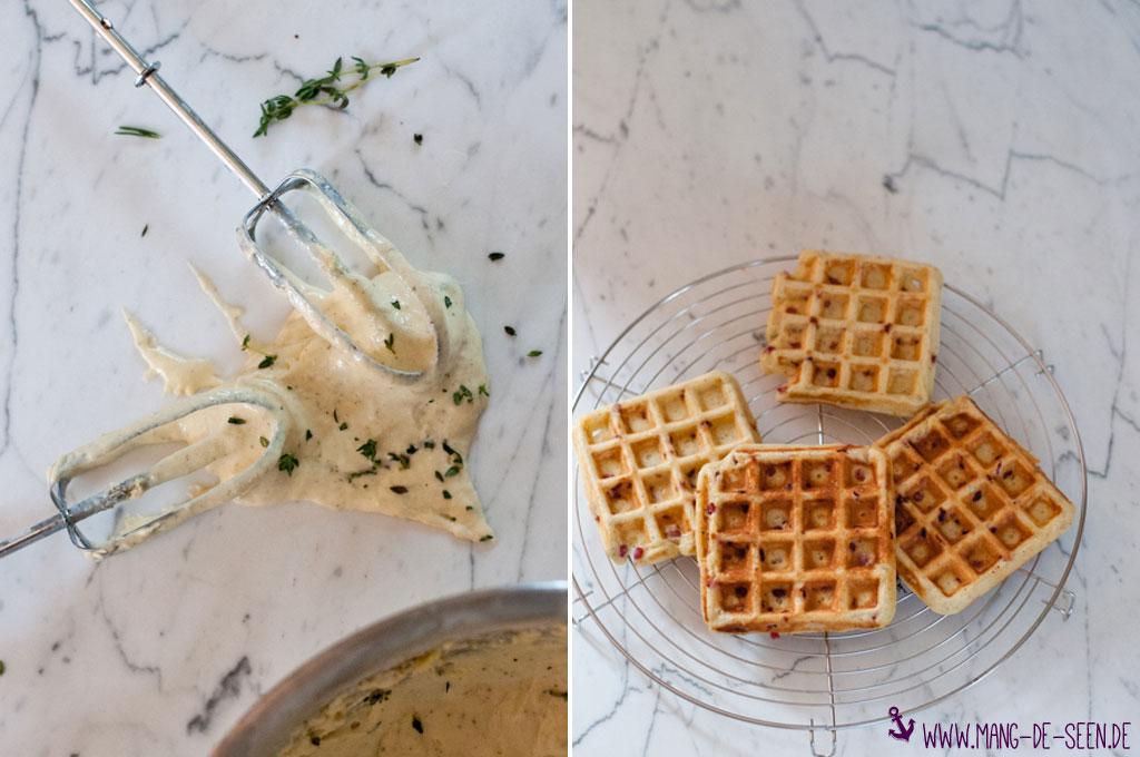 Rezept für pikante Waffeln mit Ziegenkäse - ein toller Snack!