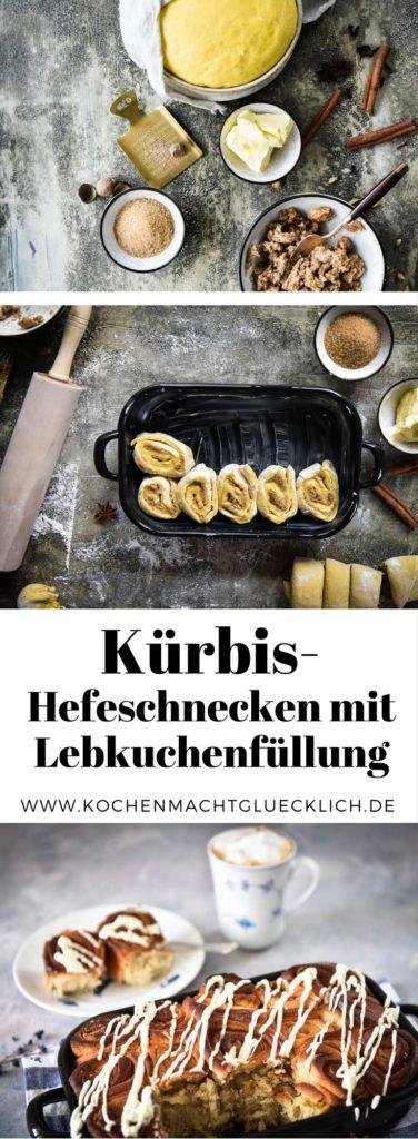Kürbis Hefeschnecken mit Lebkuchenbutter gefüllt