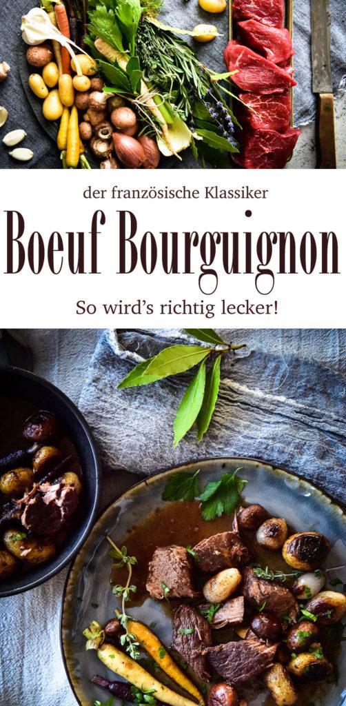 Rezept für Boeuf Bourguignon - Biorindfleisch ganz langsam in Rotwein geschmort - einfach ein Gedicht!