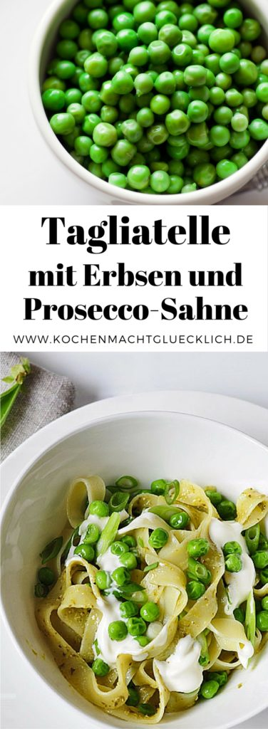 Probier dieses Rezept - Du wirst es lieben! Tagliatelle mit frischen Erbsen und Prosecco-Sahne-Soße...herrlich!
