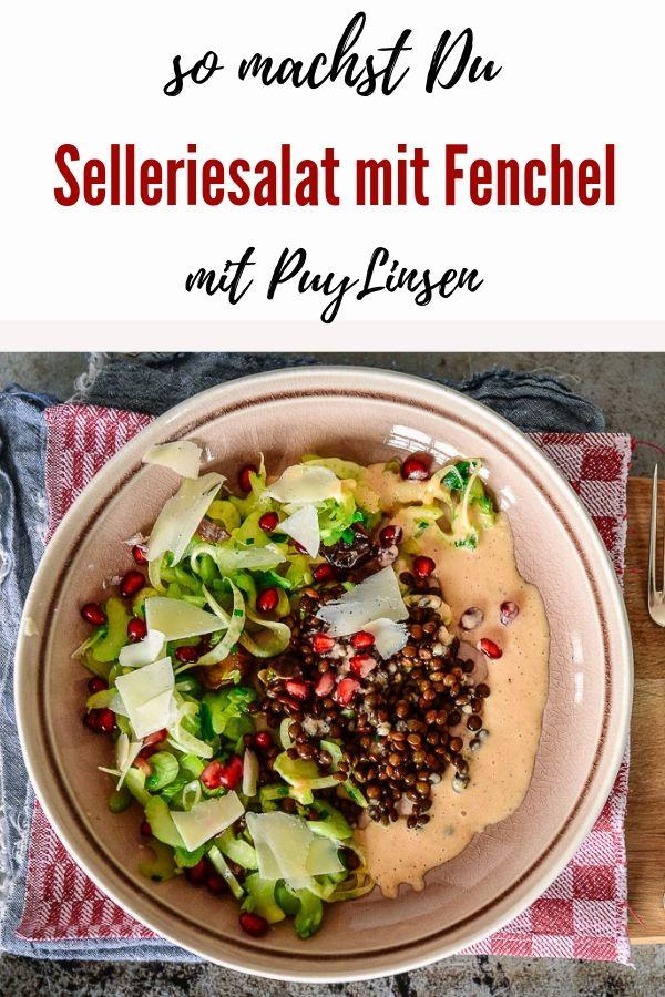 Stangensellerie-Fenchel-Salat mit Fenchel ist superschnell gemacht, mega gesund und ein echter Fatburner. Mit den Linsen hast Du direkt noch eine hochwertige Eiweissquelle und eine Handvoll komplexe Kohlehydrate (das sind die Guten ;-))