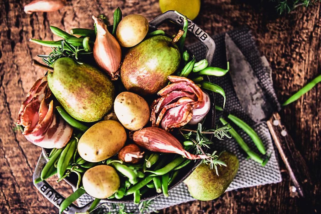 Birnen Bohnen und Speck Rezept